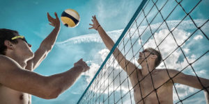 Block in action - beach Volley game